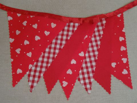 BUNTING - White Hearts & Small Spots, Red & Gingham on Red Ribbon - 3m, 5m or 10m - Valentine
